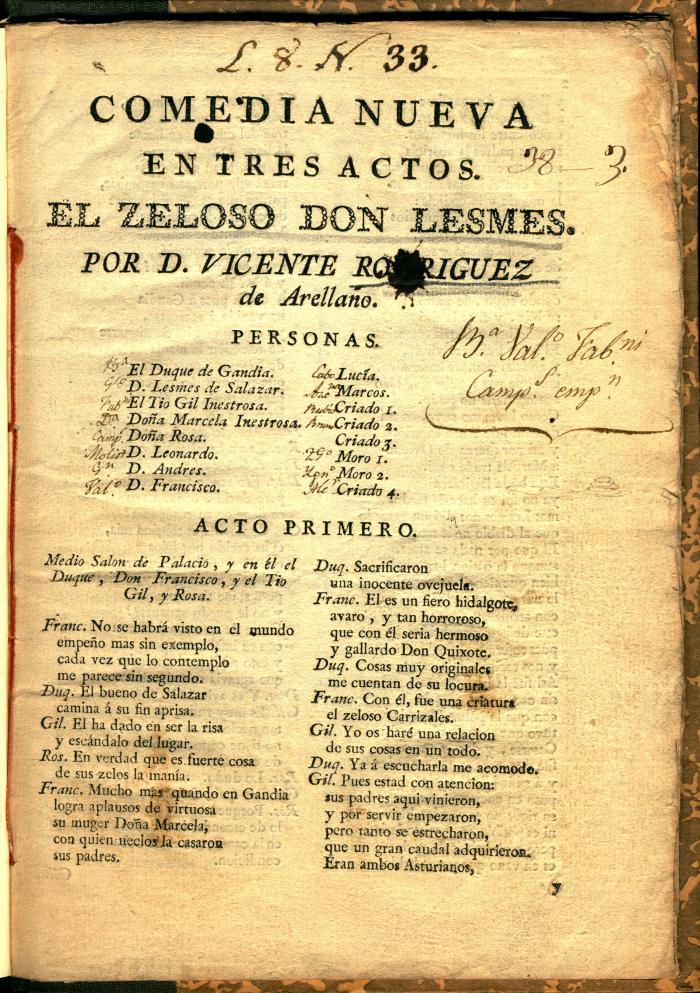 Comedia nueva en tres actos. El zeloso don Lesmes.