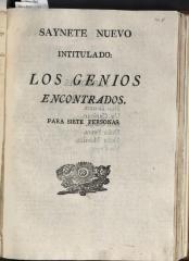 Saynete nuevo intitulado: Los genios encontrados.