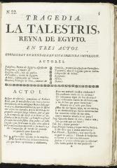 La Talestris, reyna de Egypto :